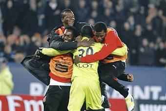 I giocatori del Rennes esultano dopo un gol (Getty Images)
