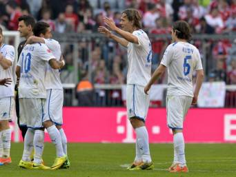 I giocatori dell'Hoffenheim esultano dopo un gol (Getty Images)