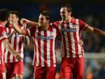 I giocatori dell'Atlético Madrid festeggiano una vittoria (Getty Images)
