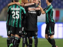 I giocatori del Sassuolo esultano dopo aver segnato (Getty Images)