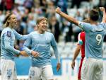 I giocatori del Malmö esultano dopo un gol (Getty Images)