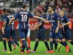 I giocatori del PSG esultano dopo un gol (Getty Images)