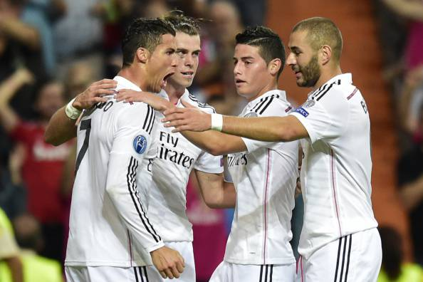 I giocatori del Real Madrid esultano dopo un gol (Getty Images)