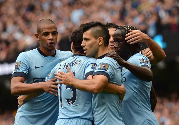 I giocatori del Manchester City esultano dopo un gol (Getty Images)