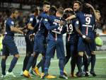I giocatori del PSG esultano dopo un gol (Getty Images)