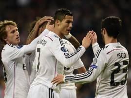 I giocatori del Real Madrid esultano dopo un gol (Getty Images)
