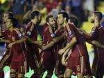 I giocatori della Spagna esultano dopo un gol (Getty Images)