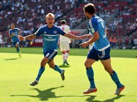 I giocatori dell'Amburgo esultano dopo un gol (Getty Images)