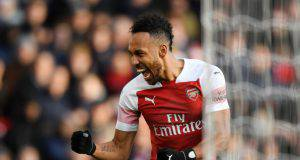 LONDON, ENGLAND - DECEMBER 22: Pierre-Emerick Aubameyang of Arsenal celebrates after scoring his team's second goal during the Premier League match between Arsenal FC and Burnley FC at Emirates Stadium on December 22, 2018 in London, United Kingdom. (Photo by Shaun Botterill/Getty Images)